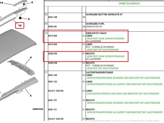 Martins C5 III: Dachreling demontiert - Teilenummern